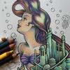 完成?】プリズマカラー色鉛筆でタトゥー風を目指して塗ってみました☆アートぬりえアリエルより