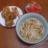 幸運な病のレシピ( 1377 )昼 :細うどん、かき揚げ(タマネギとキャベツ)、魚肉ソーセージ天ぷら、インゲンチクワの磯辺揚げ