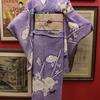 紫絞り朝顔に蜻蛉単衣×ピンク地朝顔と芙蓉絽袋帯