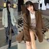 コーデュロイ テーラードジャケット ルーズ 韓国ファッション レディース 大人可愛い ガーリー