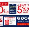 バニラVISAカード 今度はポプラグループコンビニ購入で楽天ポイント5%分還元!【5と0のつく日限定】【~1/30】