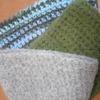 フェルティング に挑戦してみました。編んだものがフエルト化、ぎゅっと縮まりしっかりと。