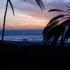 日没のビーチ