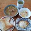 パンと卵焼きとポテトサラダと鯖の味噌汁とグリーンティー