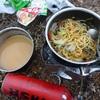 節水キャンプ飯。パスタとゆで汁スープ