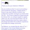 William Collegeからメールきたーっ!!