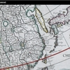 1650 Dutch 台湾島に3つの呼び名 チャイナ沿岸の島々が日本に連なる島々と同じに色分けされる地図