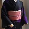 【着物コーディネート帖】手作りのギンガムチェック帯を渋かわいい紬着物に合わせて