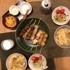 白菜卵とじうどん、焼き鳥、きゅうりとカニカマとプチプチの中華サラダ