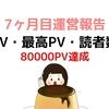 【過去最高80000PV】ブログ初心者開設 7ヶ月目運営報告【アクセス数・記事数】