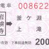 富山地方鉄道  常備軟券乗車券・補充軟券乗車券