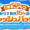【楽天証券】外国株GW手数料キャッシュバックキャンペーン開催中