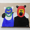 マスクをかぶった熊の絵を販売