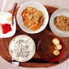 野菜煮物、小粒納豆、バナナヨーグルト。