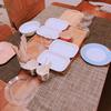 友人家族とおうちランチ。食器が足りない…