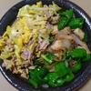 甘唐辛子とエリンギと玉ねぎの炒め物と黄ニラ豚玉