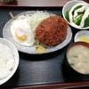 西川口の「あおき食堂」でジャンボメンチカツと目玉焼き定食を食べました★