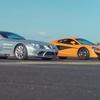 Mercedes SLR McLaren と Mercedes 540Cのドラッグレースと0-100-0レース