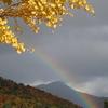 比叡山背景に虹を見る。