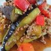 <なすトマト麻婆>味噌の香り、挽肉のコク、トマトの酸味とピリ辛がお皿のなかで4重奏(^^♪