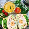 チーズ油揚げでハムとカレー卵のわんぱくサンド