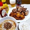 韓国のカリカリチキンと冷やし坦々麺とビール☆