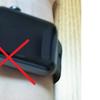 アップルウォッチは上側(腕の外側)に装着が正解です。