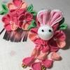 七五三髪飾り(つまみ細工) 皆大好きウサギさんの髪飾り「ピンクのお耳」です。