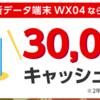 11月はWX04が30000円キャッシュバック【BIGLOBE WiMAX2+】