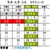 令和元年5月第1週~第2週の営業スケジュールです。