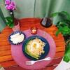 【週末ごはん】アスパラガスと温泉卵のパスタ20180908