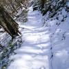 残雪の剣山を行く