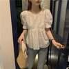 ブラウス パフ袖 半袖 韓国ファッション レディース 透け感 ゆったり 大人可愛い ガーリー