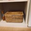 家にあったニトリ籐ケースでお灸BOXが完成❤︎