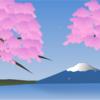 EXCELで桜と富士山の絵を描いた