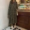 韓国ファッション 花柄ワンピース 大きい襟 フラワー フリル 長袖 レトロ ガーリー レディース