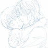 抱き合うゴロトシ☆内表紙の下描き