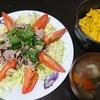 牛しゃぶサラダ、カボチャサラダ、味噌汁