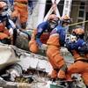 日本の国際緊急援助隊、がれきの中から犬を救助