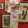 ベイビーブルー桜とツツジ単衣小紋×ピンク地牡丹柄絽名古屋帯
