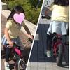 子どもたちと自転車さんぽ。シロツメクサのかんむり。