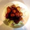 あんかけミートボール、牡蠣フライ、マカロニオニオンサラダ