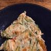 バジル茎、春菊茎のチーズ入りちぢみ