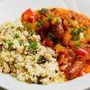 ウインナーと夏野菜のトマト煮込みとキノコのクスクスのレシピ