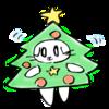 クリスマスツリーの猫の無料イラスト