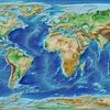 ETOPO1で地球全体の高度段彩図と陰影起伏図から、陰影段彩図を作成してみる