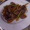 幸運な病のレシピ( 1431 )朝 :牛カルビアスパラ炒め、粗挽きひき肉のインゲン・人参・エリンギ炒め、カレイ焼きびたし、サンマみりん干し、味噌汁
