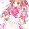 水彩色鉛筆でバレンタインな女の子
