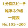 1分間スピーチ|雑学ネタ帳の一覧表(No.101~200)です。