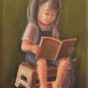 パステル「絵本を読みます1」